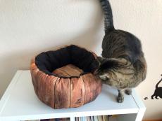 Katzenbett Holzwand Braun Ø 40 cm