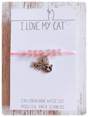 Nylon Armband Cat Love I mit Schiebeverschluss (Silber)