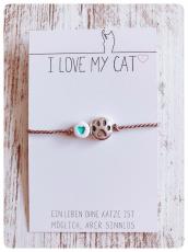 Wunscharmband Love Paws für Katzenfreunde (Türkis)