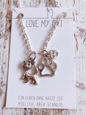 Halskette Love My Cat (Silber)