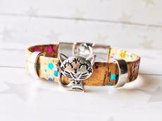 Kork Armband Funny Cat mit Knebelverschluss (Rainbow)