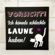 Leinwand für Katzenfreunde 25x25 schwarz (personalisierbar)