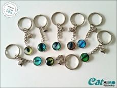 Schlüsselanhänger Glas Cabochon Cat-Eye