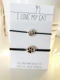 Elastisches Armband Paws für Katzenfreunde (Silber)