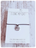 Wunscharmband Paws für Katzenfreunde (Silber)
