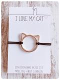Elastisches Armband Katzenkopf mit Schiebeknoten (Lightgold)