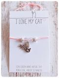 Nylon Armband Cat Love II mit Schiebeverschluss (Silber)
