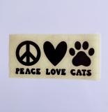 Vinylaufkleber Peace, Love, Cats