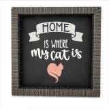 """Bilderrahmen """"Cat Home"""" aus Designpapier (schwarz) Unikat"""