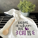 """Geschirrtuch """"Home is where the cat is"""""""