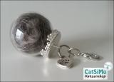 Glaskugel (Ø 2,5 cm), Silber ~ Tierhaarschmuck