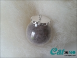 Glaskugel (Ø 3 cm), Silber ~ Tierhaarschmuck
