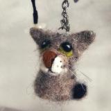 Schlüsselanhänger Miniatur-Kätzchen aus Filz (Wunschfarbe)